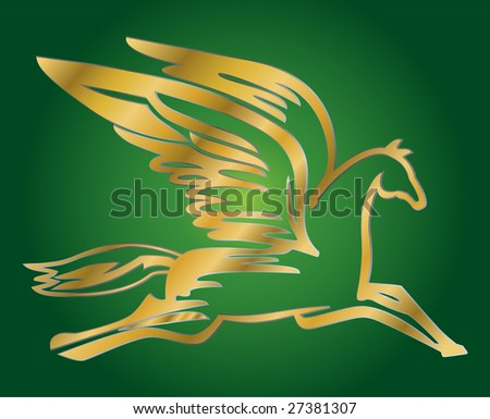 vector illustration of antique flying horse Pegasus - stock vector
