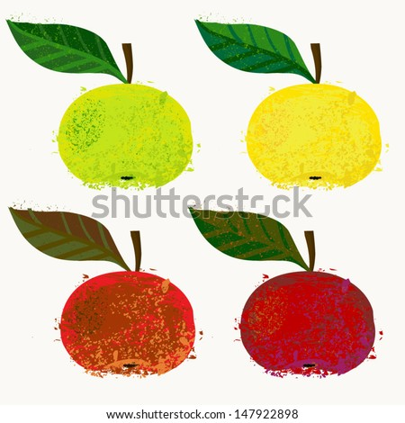 Vector illustration of apple fruit. The drawing imitates dry brush watercolor technique. Set of 4 images for package design like juice boxes, yogurt, dry fruit mix, jelly, or caffeine free tea, jam - stock vector