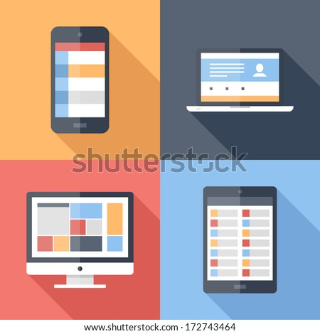 Vector illustration of application menu template on different electronic devices - stock vector