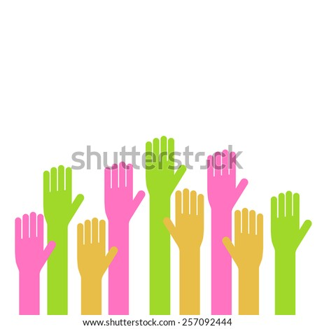 Vector illustration of applique of up hands. Volunteering or voting concept icon. - stock vector