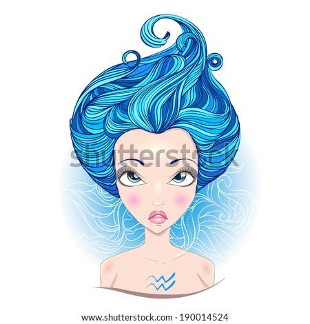 Vector illustration of  Aquarius zodiac sign. - stock vector