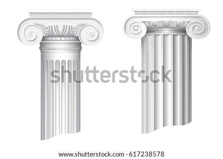 Vector illustration of  architectural classical order ionic capital