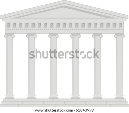 Vector illustration of architectural element - Portico (Colonnade), an ancient temple - stock vector