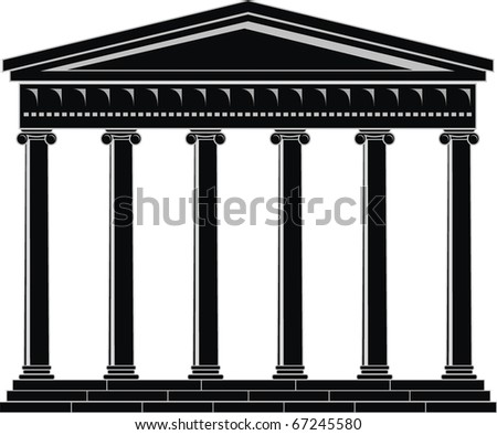 Vector illustration of architectural element - Portico (Colonnade), an ancient temple: black, isolated, white background - stock vector