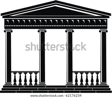 Vector illustration of architectural element - Portico (Colonnade), ancient temple - stock vector