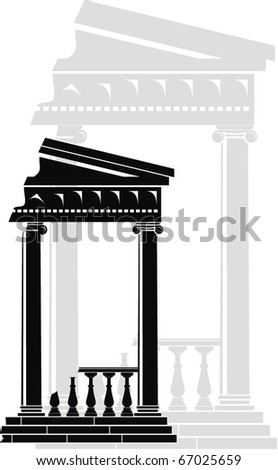 Vector illustration of architectural element - Ruins of Portico (Colonnade), an ancient temple: black, grey, isolated, white background - stock vector