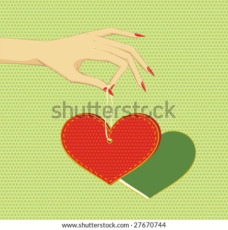 Vector illustration of arm, holding the heart.