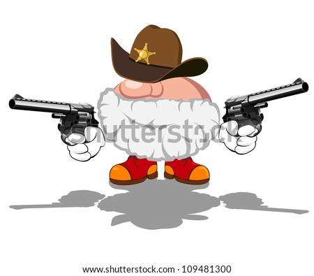 vector illustration of armed sheriff - stock vector