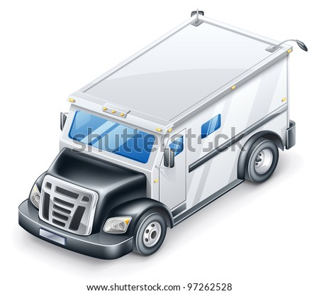 Vector illustration of armored truck on white background.