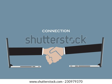 Vector illustration of arms coming out from wireless mobile laptops for business handshake. Concept for using technology for virtual business connection. - stock vector