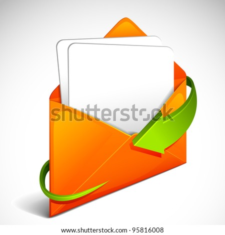 vector illustration of arrow around envelope with letter - stock vector
