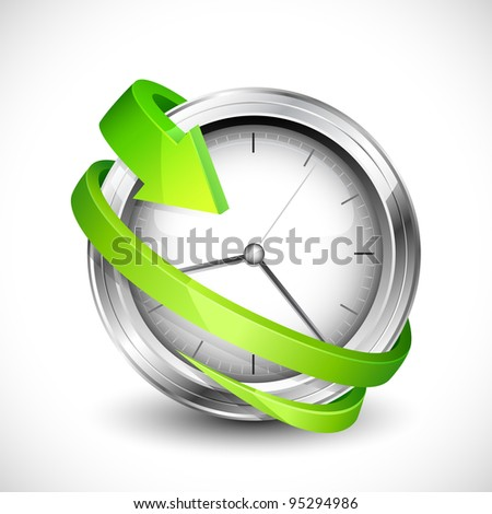 vector illustration of arrow moving around wall clock - stock vector