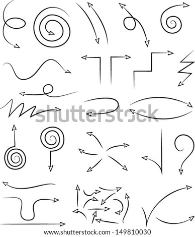 Vector illustration of arrow set in black and white - stock vector
