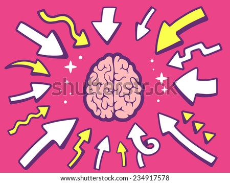 Vector illustration of arrows point to icon of  brain on pink background. Line art design for web, site, advertising, banner, poster, board and print. - stock vector