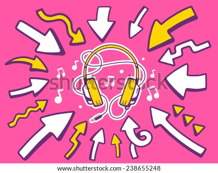 Vector illustration of arrows point to icon of headphones on pink background. Line art design for web, site, advertising, banner, poster, board and print. - stock vector