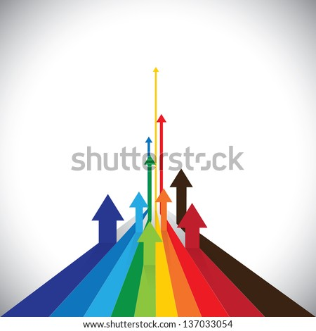 Vector illustration of arrows showing some winners and some losers. This colorful graphic can also represent sales of competitors or employee performances or asset performance, etc - stock vector