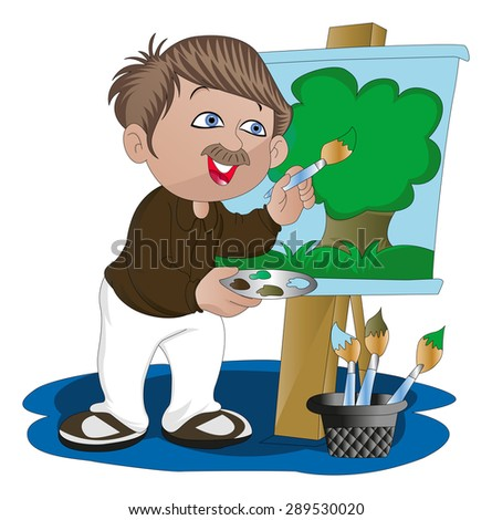 Vector illustration of artist painting on canvas. - stock vector