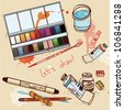 vector illustration of artistic  tools - stock vector