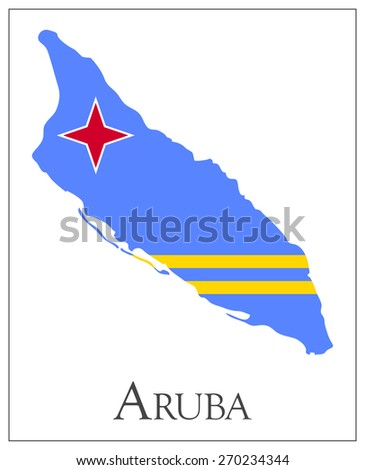 Vector illustration of Aruba flag map. Used transparency. - stock vector