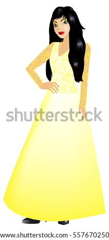 Vector Illustration of Asian woman with yellow long gown.