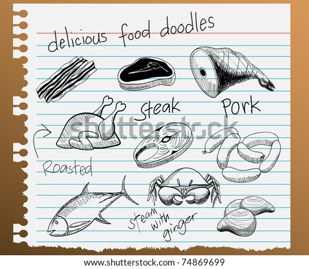vector illustration of assorted food doodles