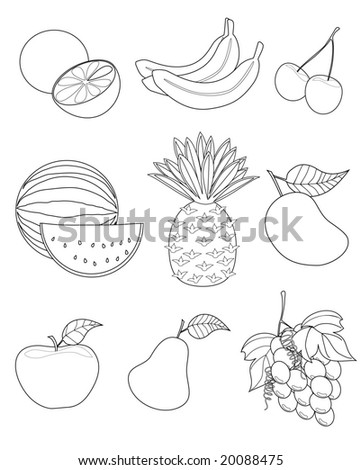 vector illustration of assorted fruits outline drawing