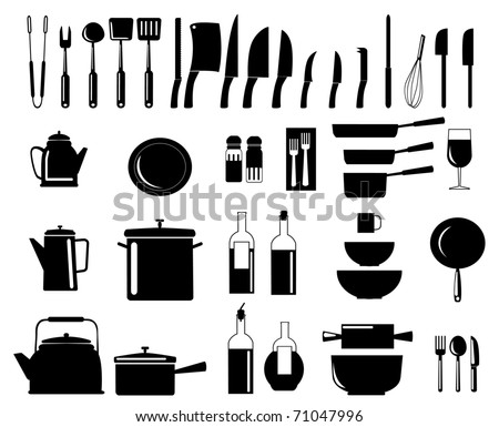Vector illustration of assorted kitchen utensil silhouettes