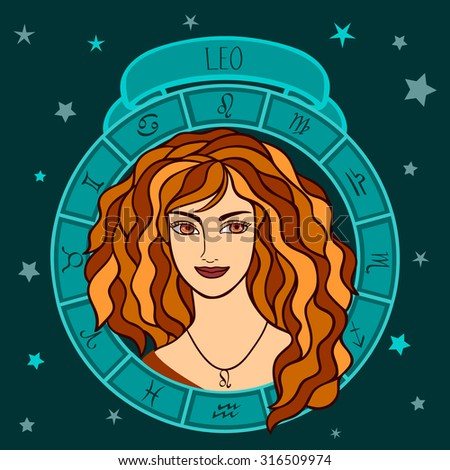 vector illustration of astrological zodiac sign as a girl - Leo