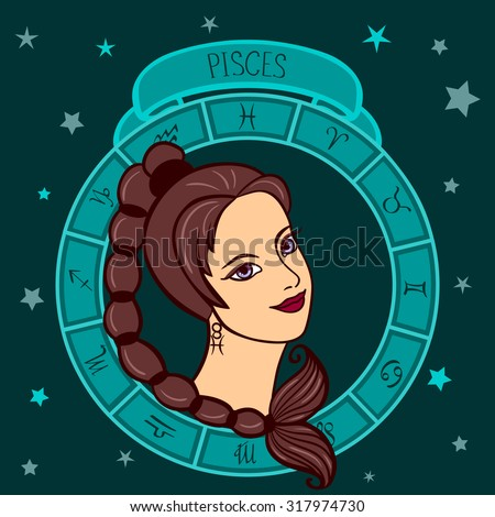 vector illustration of astrological zodiac sign as a girl - Pisces
