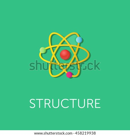 vector illustration of atom structure. Flat style design - stock vector