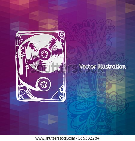 vector illustration of audio cassette on a geometric background. - stock vector