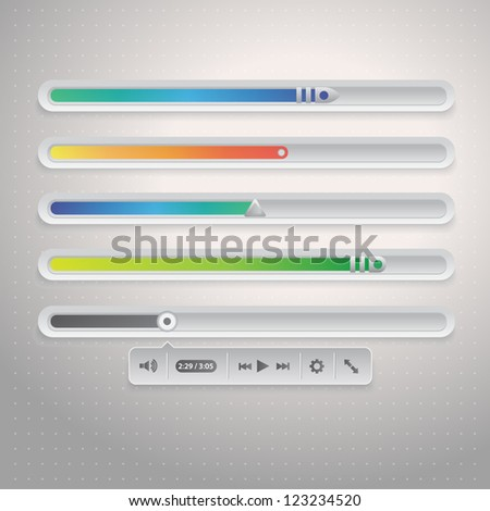 Vector illustration of audio or video bar for web - stock vector