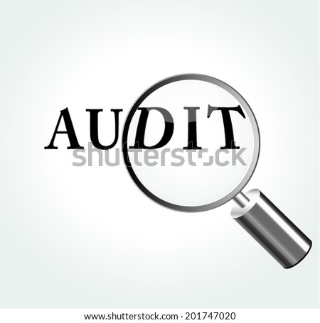 Vector illustration of audit concept with magnifying