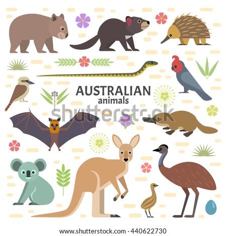 Vector illustration of Australian animals: moose, flying fox, kangaroo, koala, Tasmanian devil, echidna, wombat, emu, cockatoo, platypus, isolated on transparent background. - stock vector