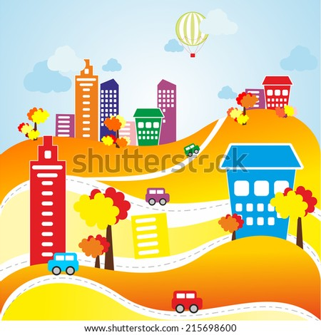 Vector illustration of autumn city and landscape with cars, buildings, roads and balloon - stock vector