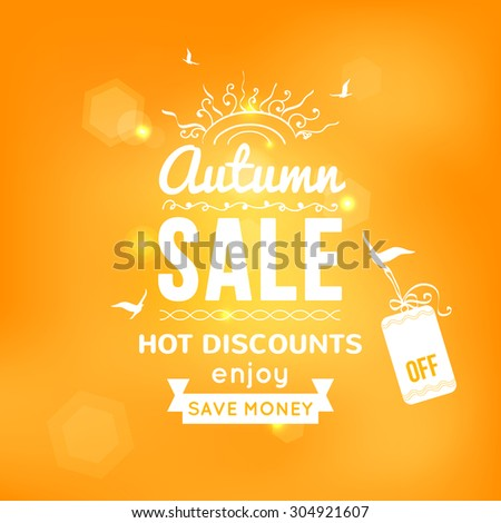 Vector illustration of Autumn sale typography on blurred background - with sample text, sun, birds