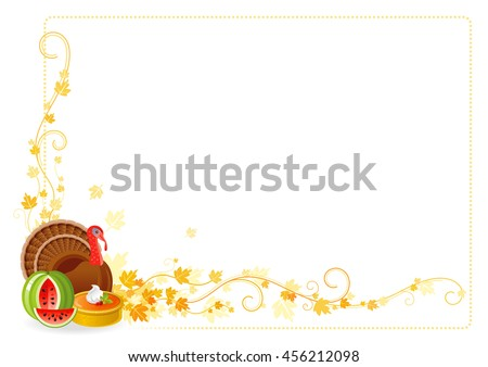 Vector illustration of autumn thanksgiving food on white background with vineyard leaves and copy space. Seasonal holiday dinner concept - pumpkin pie, turkey bird, watermelon  - stock vector