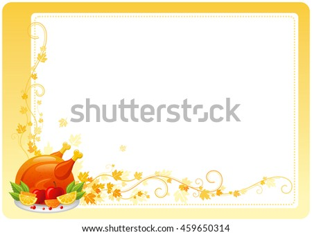 Vector illustration of autumn thanksgiving food on white background with vineyard leaves and copy space. Seasonal holiday dinner concept - roast turkey with apples, lemon and cranberry - stock vector