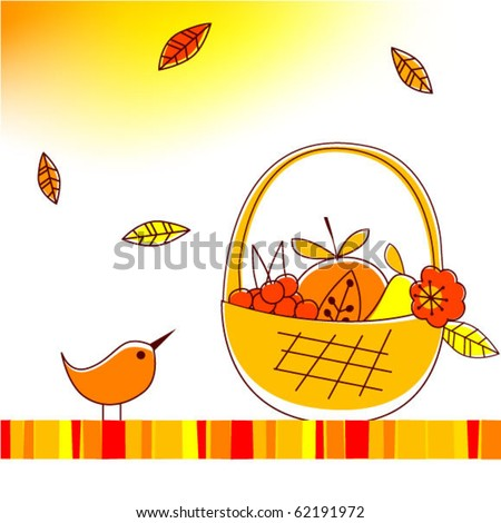 Vector illustration of autumnal theme with bird and fruits - stock vector