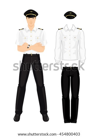 Vector illustration of aviation uniform isolated on white background