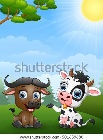 vector illustration of Baby buffalo and baby cow cartoon in the jungle