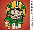 Vector illustration of baby football player - stock