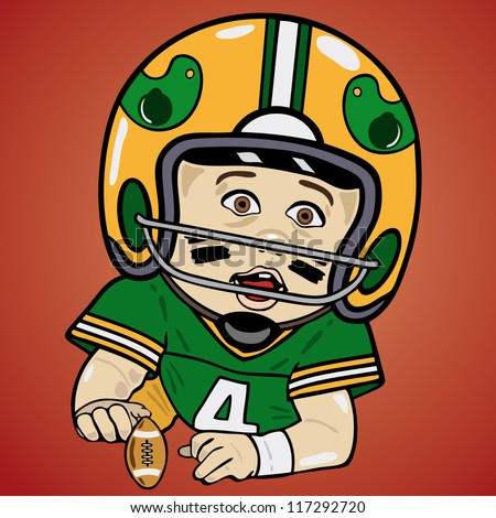 Vector illustration of baby football player - stock vector