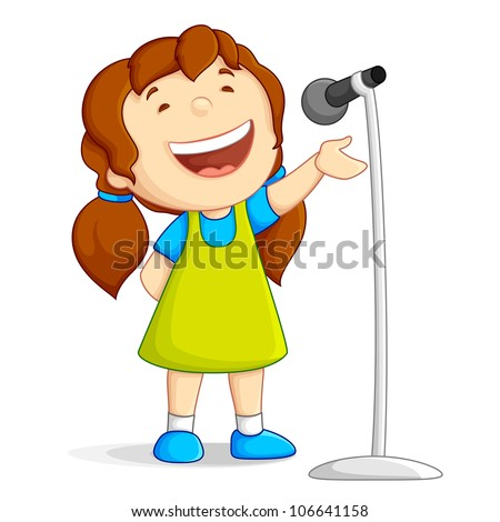 vector illustration of baby girl singing loudly against white background - stock vector