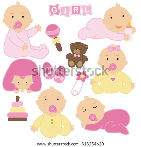 Vector illustration of baby girls and toys