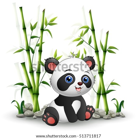 Vector illustration of Baby panda sitting among bamboo stem