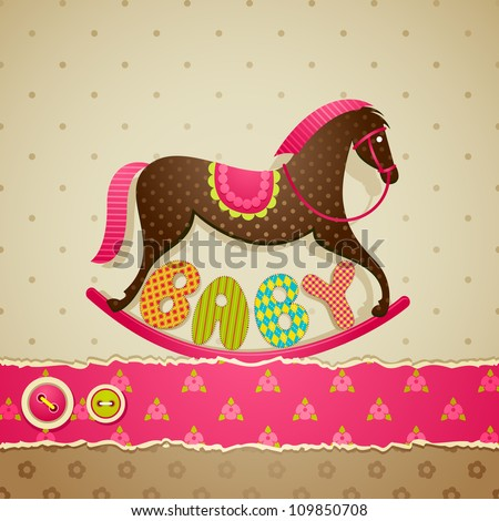 vector illustration of baby shower background with rocking horse - stock vector