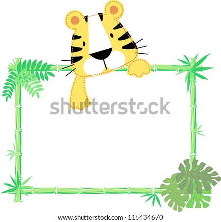 vector illustration of baby tiger with blank sign
