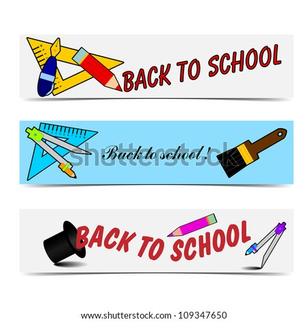 Vector illustration of back to school banners. - stock vector