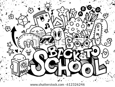 Vector Illustration Back School Monster Doodle Stock